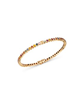 SheBee - 14K Yellow Gold Multicolor Sapphire Infinity Bangle Bracelet