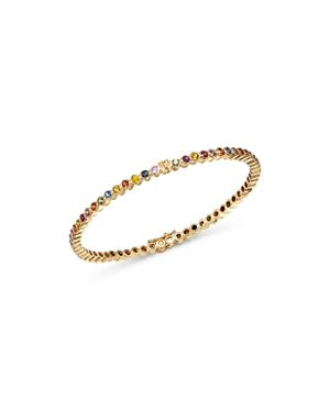 SHEBEE Shebee 14K Yellow Gold Multicolor Sapphire Infinity Bangle Bracelet in Multi/Gold