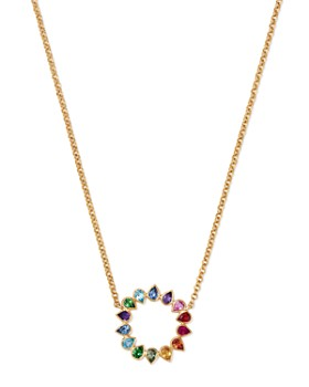 SheBee - 14K Yellow Gold Multicolor Sapphire & Mixed Gemstone Circle Pendant Necklace, 16""