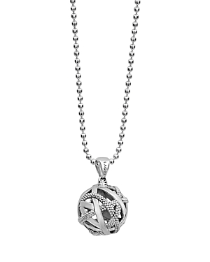 Lagos Sterling Silver Caviar Talisman Woven Knot Pendant Necklace, 34-Jewelry & Accessories