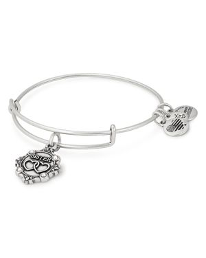 ALEX AND ANI Because I Love You Sister Charm Bangle in Silver