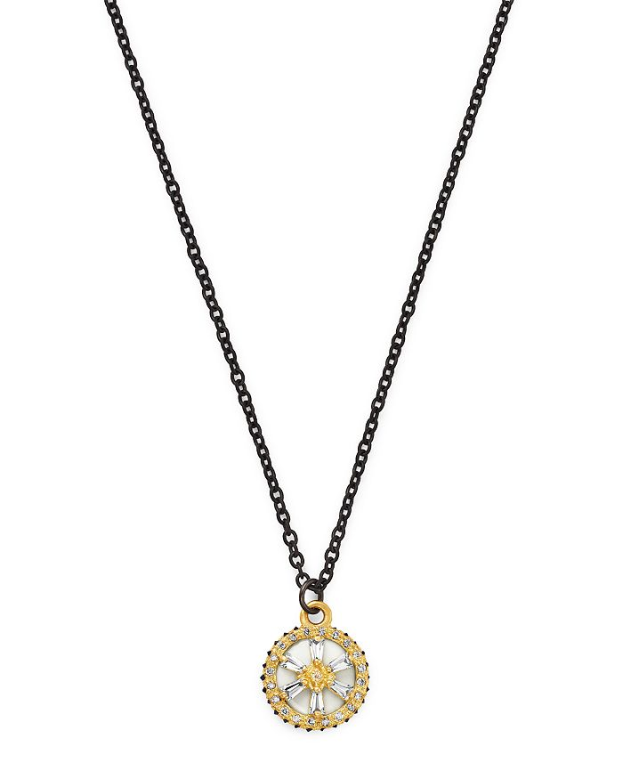 "Armenta - 18K Yellow Gold & Blackened Sterling Silver Old World Crivelli White Sapphire, Black Sapphire & Champagne Diamond Star Pendant Necklace, 16"""