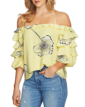 1.state Tiered Ruffle Sleeve Floral Top