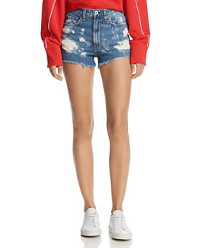 rag & bone/JEAN - Justine High-Rise Distressed Denim Shorts in Brokenland