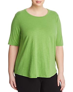 New Eileen Fisher Plus Organic Cotton Slub-Knit Tee, Apple