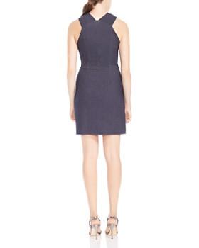 HALSTON HERITAGE - High-Neck Draped Sheath Dress