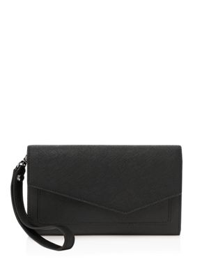 Cobble Hill Wristlet Wallet, Black/Silver