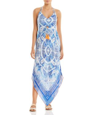 Maxi Dres Swim Cover-Up in Navy