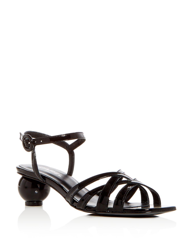 Carel Women's Patent Leather Crisscross Sphere Heel Sandals