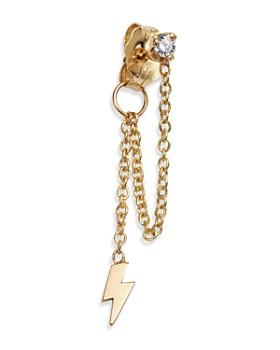 Zoë Chicco - 14K Yellow Gold Diamond & Draped Itty Bitty Lightning Bolt Charm Stud Earring