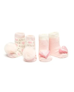 Elegant Baby - Girls' Pom-Pom & Heart Rattle Socks, Set of 2 - Baby