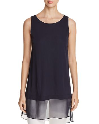 Elie Tahari - Tenzin Mixed-Media Tunic Top