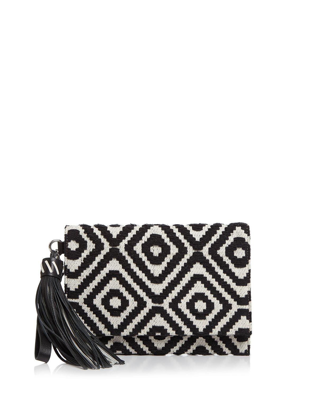 Rebecca Minkoff Serra Fold-Over Clutch (Black/White) Clutch Handbags hTluhWAE