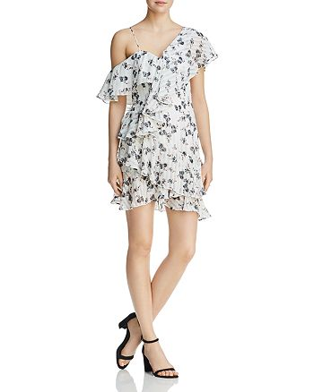 Elliatt - Asymmetric Cold-Shoulder Floral Dress