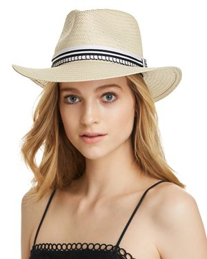 Packable Straw Fedora - Brown, Natural