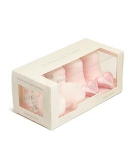Elegant Baby - Girls' Pom-Pom & Heart Rattle Socks, Set of 2 - Baby