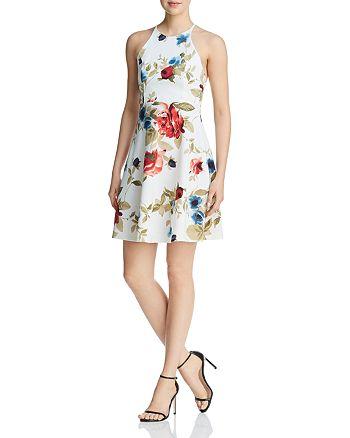 AQUA - Strappy Floral Print Dress - 100% Exclusive