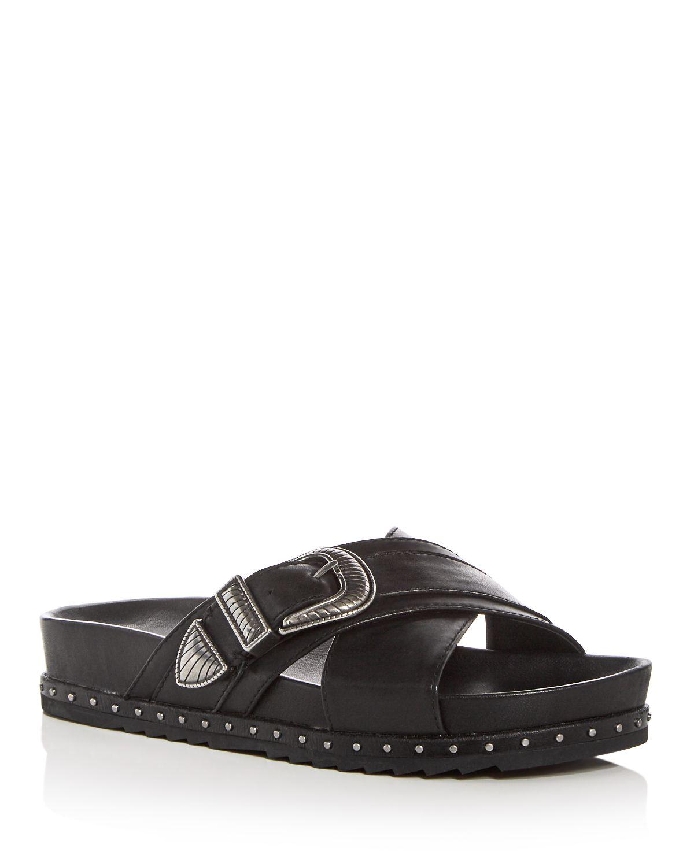 Frye Women's Lily Leather Western Buckle Crisscross Slide Sandals