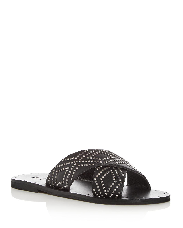 Frye Women's Ally Studded Leather Crisscross Slide Sandals