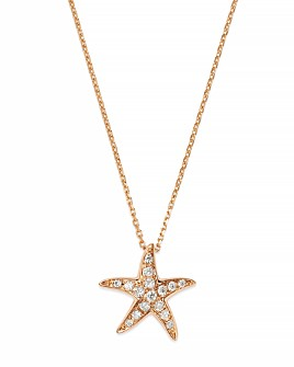Bloomingdale's - Diamond Starfish Pendant Necklace in 14K Rose Gold, .14 ct. t.w. - 100% Exclusive