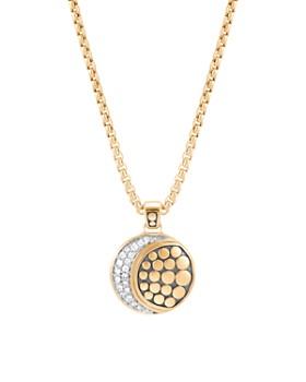 "John Hardy - 18K Yellow Gold Dot Pavé Diamond Moon Pendant Necklace, 16"""