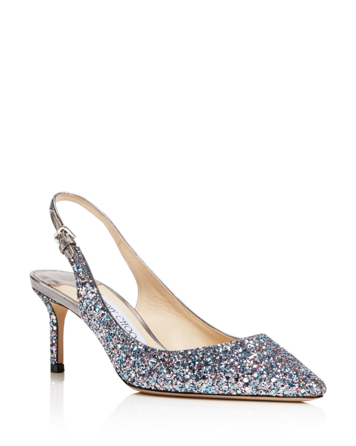 Jimmy choo 60MM ERIN GLITTERED SLINGBACK PUMPS
