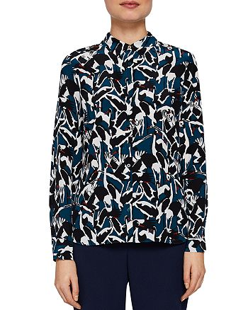 274db3995ce4 Ted Baker Ted Baker Colour By Numbers Elbera Crane-Print Silk Shirt ...
