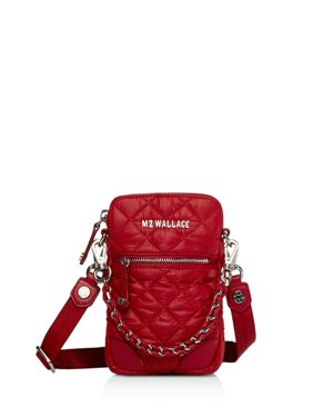 Micro Quilted Crossbody Bag, Carmine Red/Silver