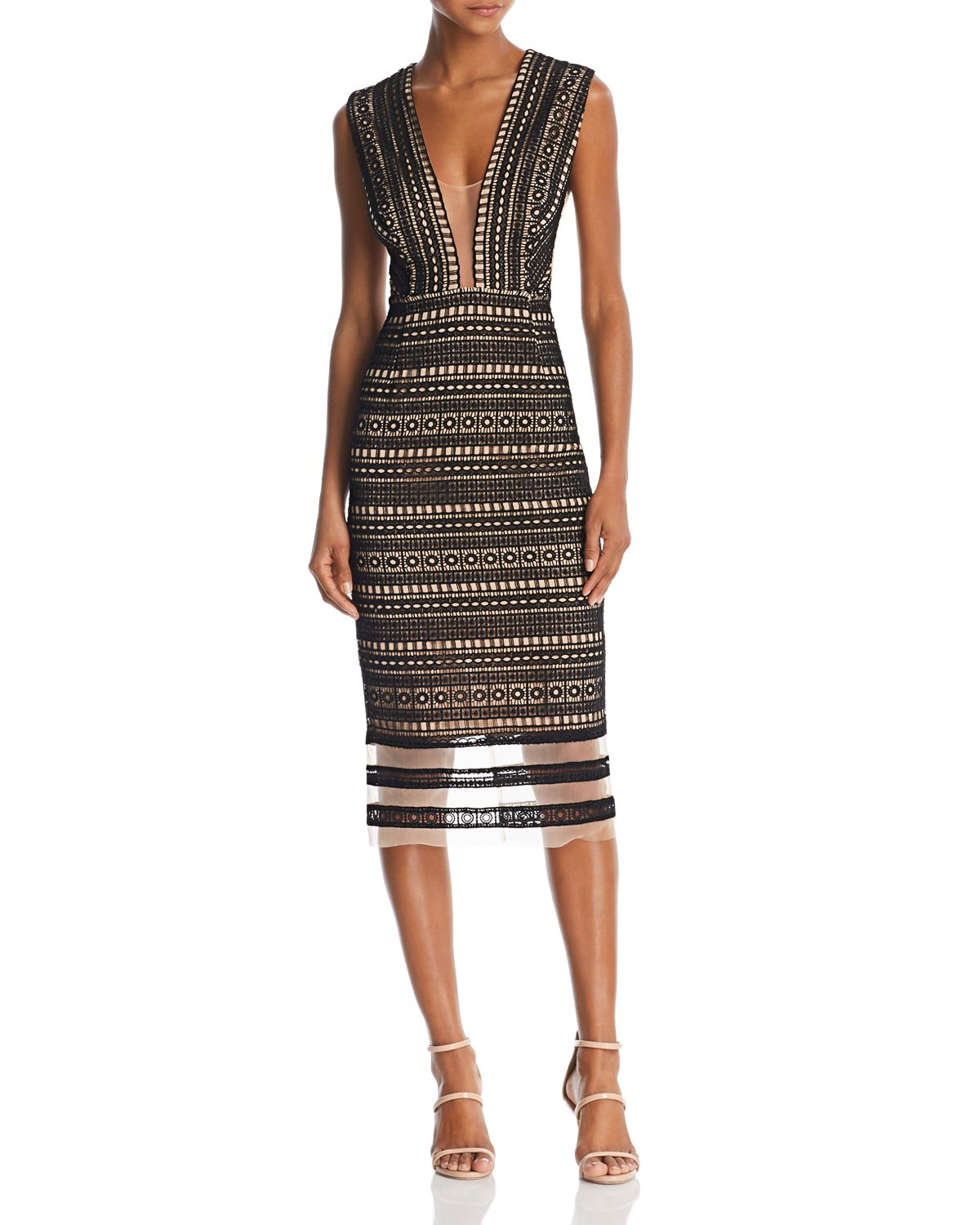 Kendall Sleeveless Mesh & Lace Dress by Sau Lee