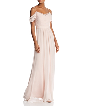 Adrianna Papell Off-the-Shoulder Pleated-Bodice Gown