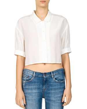 The Kooples Cropped Lace-Up Silk Shirt