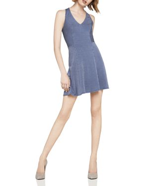 BCBGENERATION STRIPED FIT-AND-FLARE DRESS