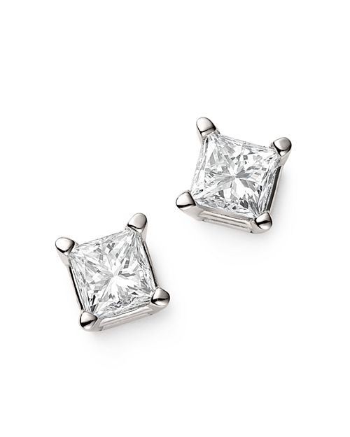 Bloomingdale's - Diamond Princess-Cut Studs in 14K White Gold, 0.75 ct. t.w. - 100% Exclusive