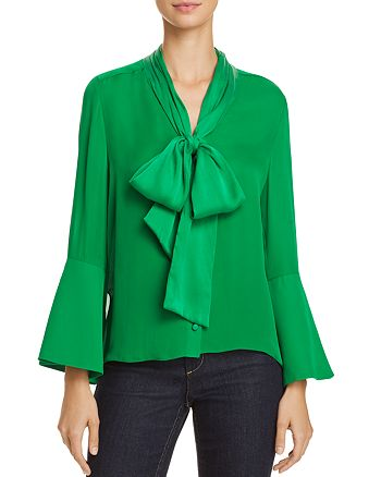 b4ad2d0f2f9cb9 Alice and Olivia Alice + Olivia Meredith Tie-Neck Bell Sleeve Blouse ...