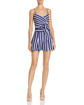 Alice and Olivia - Scarlet Pleated Striped Shorts