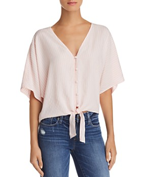 PAIGE - Baylee Tie-Front Striped Top - 100% Exclusive