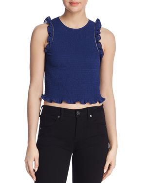 THOMES RUFFLED SMOCKED CROPPED TOP