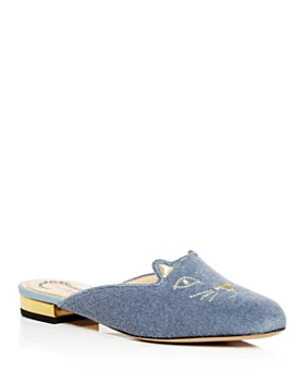 Charlotte Olympia - Women's Kitty Embroidered Terry Cloth Mules