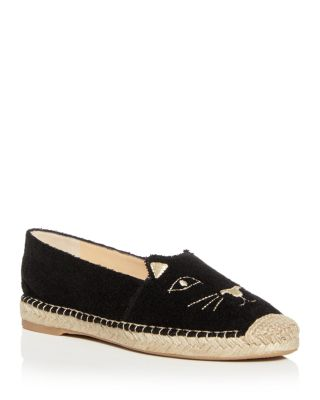 Charlotte Olympia Women's Kitty Embroidered Terry Cloth Espadrille Flats