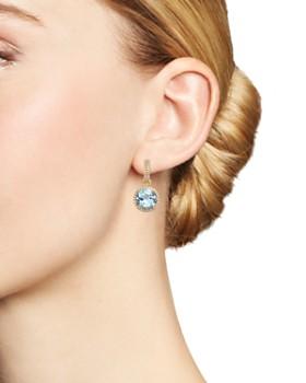 Kiki McDonough - 18K Yellow Gold Grace Round Blue Topaz & Diamond Drop Earrings