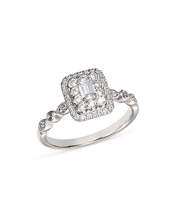 Bloomingdale S Diamond Emerald Cut Engagement Ring In 14k White