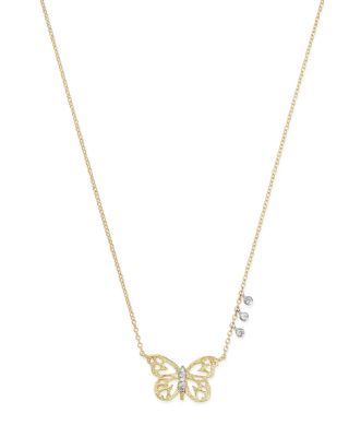 New 14k White Gold Butterfly Pendant
