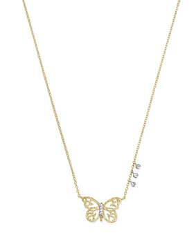 """Meira T - 14K White & Yellow Gold Butterfly Pendant Necklace, 16"""""""