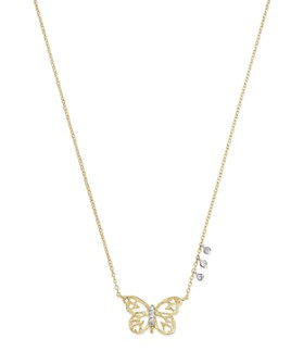 Meira T - 14K White & Yellow Gold Butterfly Pendant Necklace, 16""