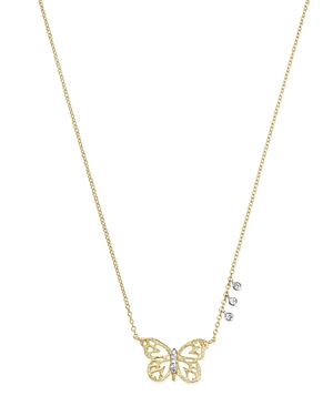 Meira T 14K White & Yellow Gold Butterfly Pendant Necklace, 16