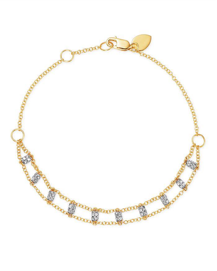 Meira T - 14K White & Yellow Gold Diamond Bars Bracelet