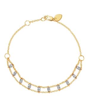 Meira T 14K White & Yellow Gold Diamond Bars Bracelet
