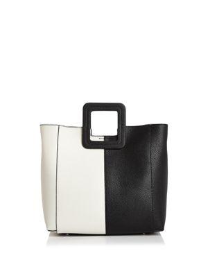 TMRW STUDIO Antonio Block Leather Satchel in Black/Bone/Silver
