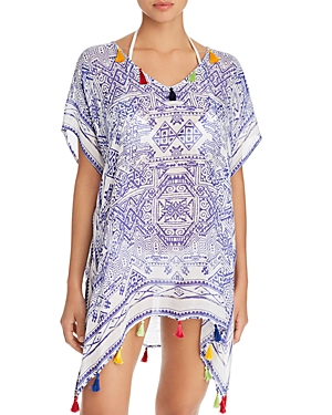 Surf Gypsy Mykonos Print Tassel Detail Tunic Swim Cover-Up