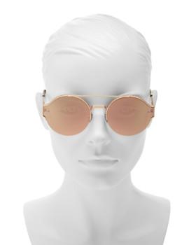 Bottega Veneta - Women's Mirrored Brow Bar Round Sunglasses, 60mm